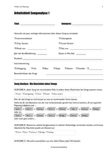 Arbeitsblatt Songanalyse - nierentisch24